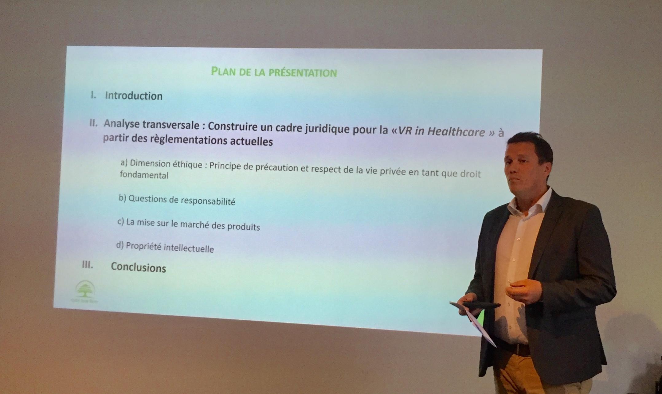 Lors des rencontres catalyse, Pierre-François Van Den Driesche a posé le questionnement de la responsabilité légale de la VR/AR en santé