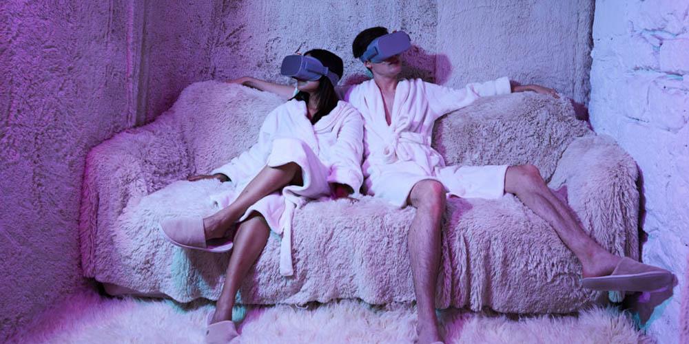Un spa avec de la méditation en réalité mixte