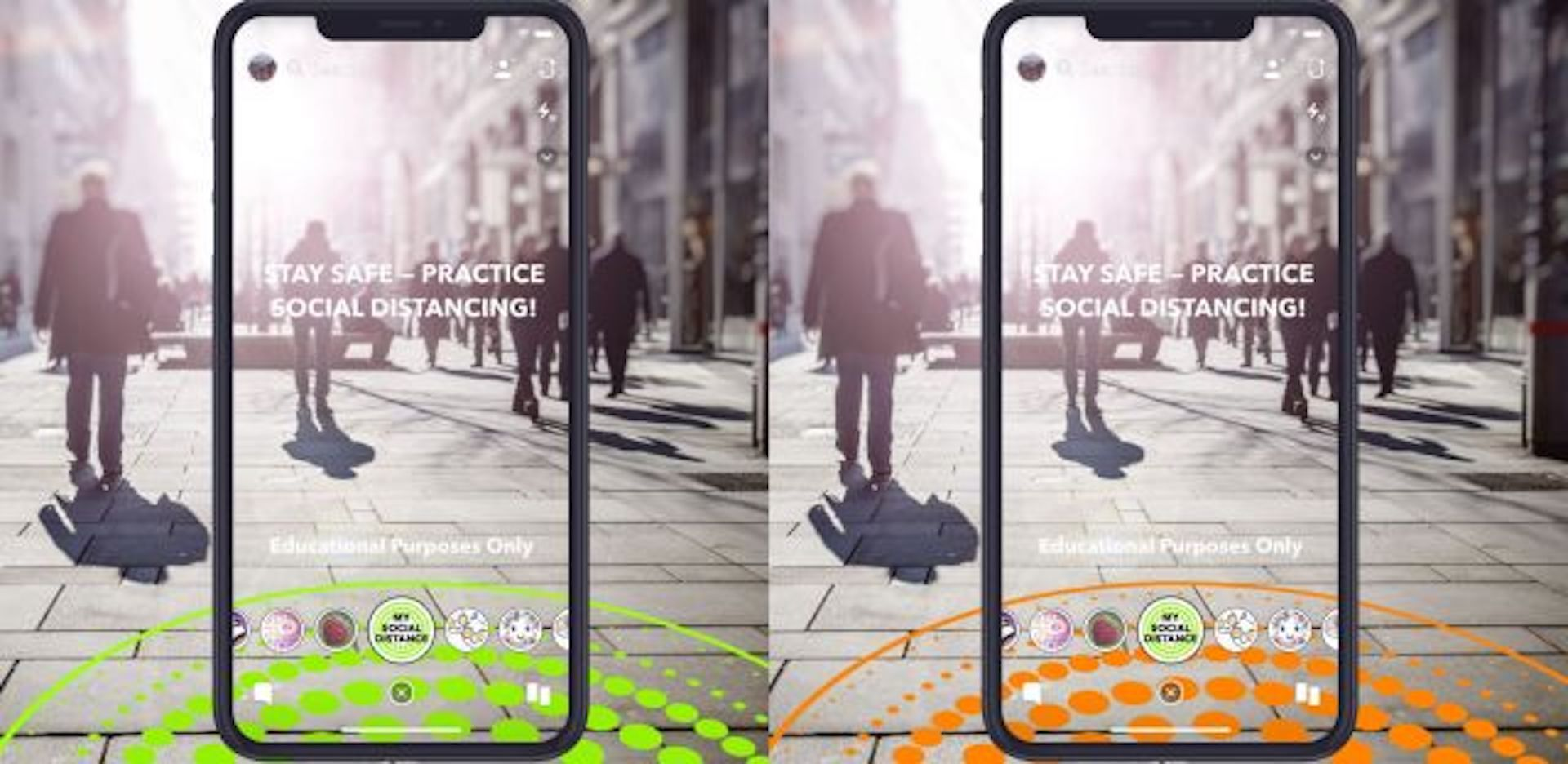Des filtres AR dans Snapchat pour encourager la distanciation sociale